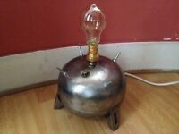 Gas tank made into a ww2 sea mine lamp with vintage light bulb,TESTED.
