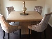 Marble Dining Table 4 Velvet Chairs