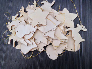 60pcs Wooden Christmas Xmas Tree Hangers Decorations Reindeer Snowman Santa Bell