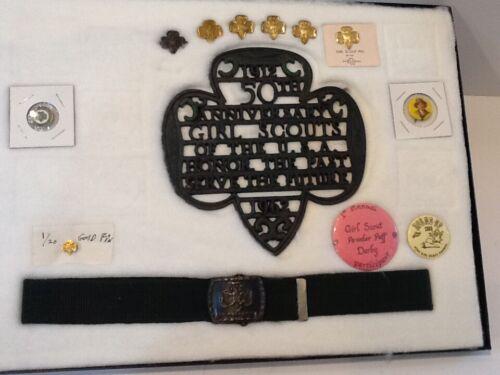 """GROUP / LOT 13 items - """" Buckle & Belt / Pins / Ect. """" - Girl Scout BSA  G&W/9-3"""
