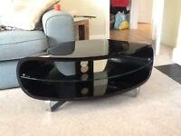 Stylish black corner TV stand
