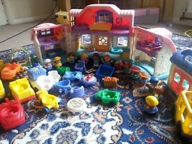 Bundle of Little People, House, vehicles, school bus etc