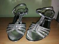 Silver Diamonte Prom Shoes