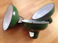 Three genuine industrial enamel lamp shades.