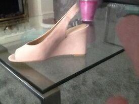 Beige wedge heel shoes
