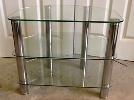 60 CM CLEAR GLASS STAND CHROME LEGS