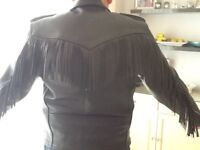 Men's Black Leather Fringed Biker Jacket