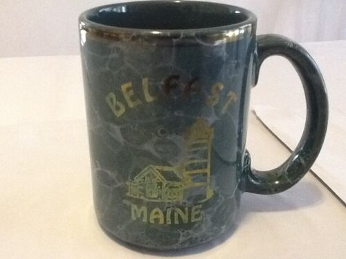"""Belfast Maine Lighthouse Coffee Mug Marbled Green Gold Letters Souvenir Cup 4.5"""""""