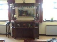 Old charm bar and German glasses with optics & grandmother clock