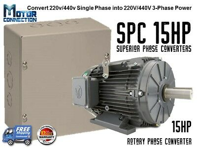 Rotary Phase Converter - 15 Hp - Create 3 Phase Power From Single Phase Supply