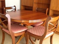 Extending Pedestal Dining Table & 4 Upholstered Chairs