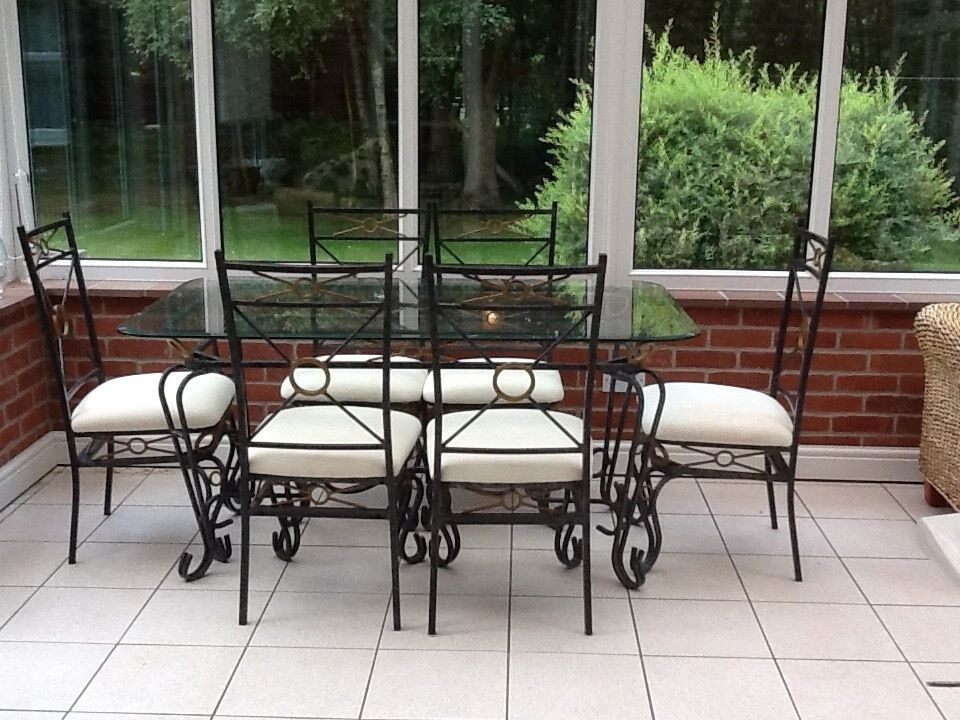 Glass And Wrought Iron Dining Table With 6 Chairs For Sale
