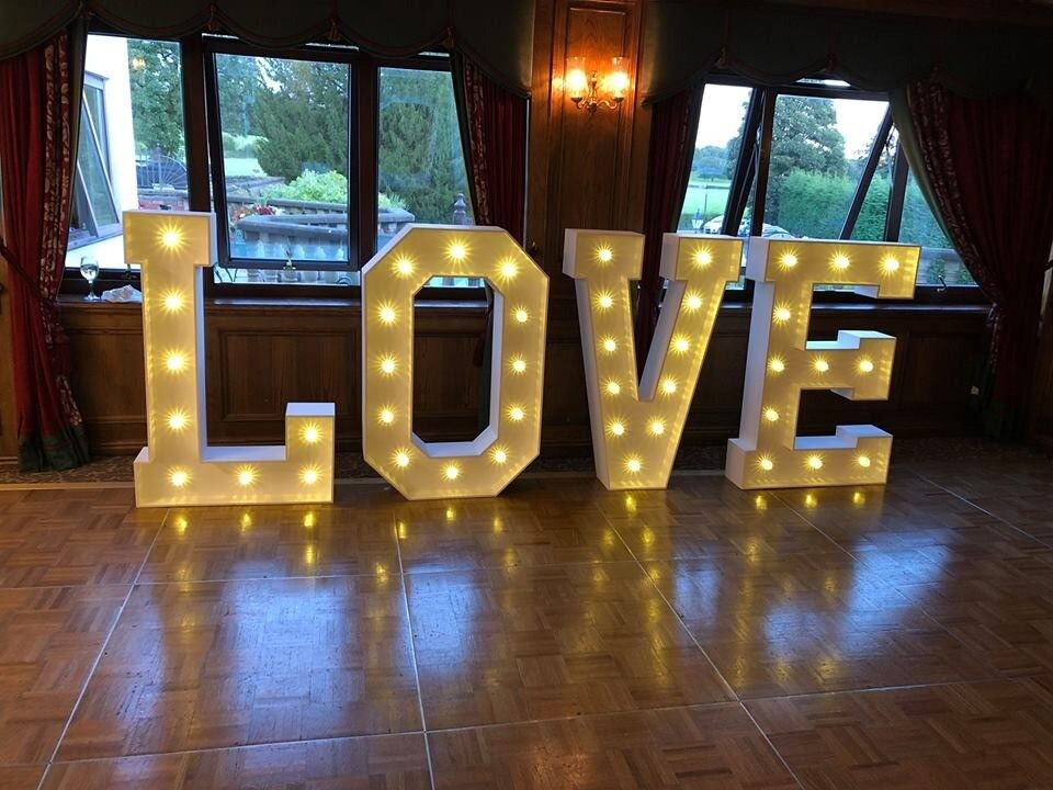 Giant 4ft Led White Love Letters Wedding Day Decor Hire Candy Cart