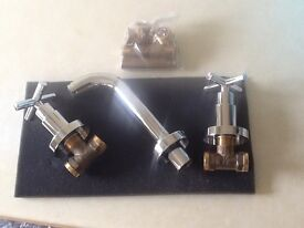 Brand new boxed Tubos 3 hole bath mixer taps Wall mounted Chrome Collect from Madeley, Telford