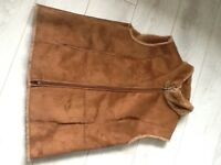 LADIES TAN FUR PILE BODY WARMER FROM ALEX &CO