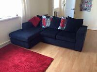 3 Seater Black Corner Sofa
