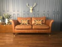 Leather 3 Seater Sofa Victorian Cigar club Suite tan Chair Vintage Chesterfield Brown 2 seat