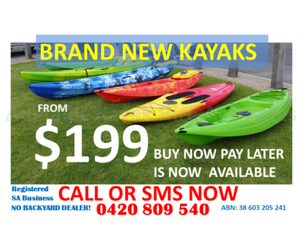 Kayaks from $199 Buy Now Pay Later Availab. Huge Range and Stock