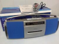 Goodmans stereo radio cassette recorder with integrated digital clock takes box damaged o