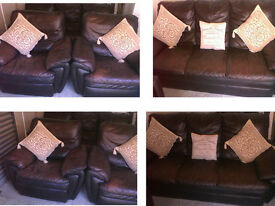 REDUCED Scs lovely comfy suite chunky brown leather 3 seater sofa 2 electric reclining chairs