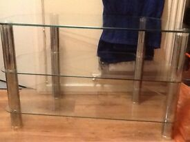 Chrome and glass T.V stand