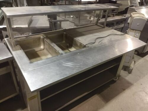 2 bay steam table with sneeze guard
