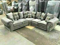 💯CLOSEOUT SALE OFF VERONA GREY FABRIC CORNER SOFA SUITE / 3+2 SEATER SETTEE AVAILABLE FOR DELIVERY