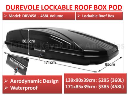 Lockable Universal Car Roof Box Pod Durevole Brand Port Adelaide
