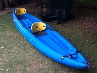 Two Seater Sit on Top Kayak with paddles and seats.
