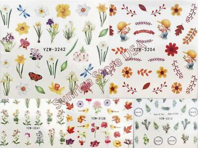 (Nail Art Water Transfer Sticker Spring Flower Leaves Butterfly Floral Decals)