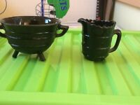 Unusual black jug & sugar bowl