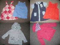 Bundle of 15 girl clothes 9-12mths/ 9-12 mths. Sleepsuits, dresses, jackets, tops, trousers, cardi..