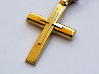 Solid 14K Gold Cross Necklace Pendant made from Yellow and White Gold in Greece