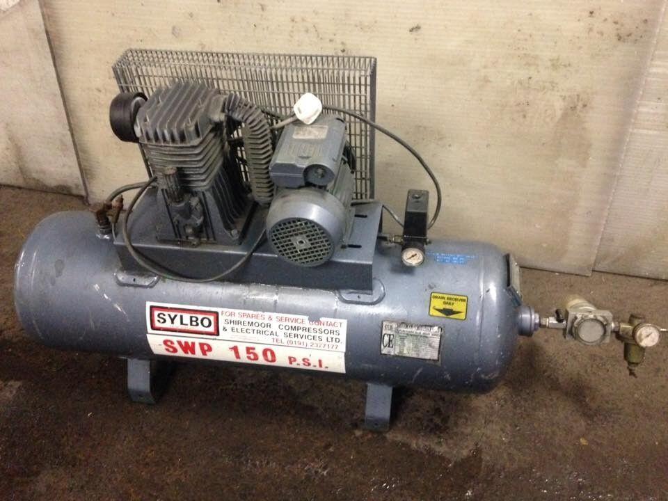 sylbo 3hp 150 psi 150 litre tank 230v 13amp compressor