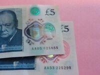 £5 notes. AA05 & AA33