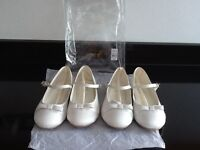 2 x Pairs Bridesmaids Ivory Ballerina Shoes Size 1
