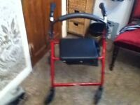 MOBILITY WALKER WITH SEAT STORAGE BAG AND BRAKES