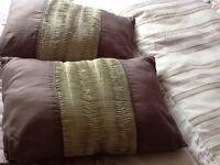 Two satin finish taffeta cushions needs uplifted