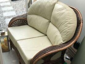 Conservatory wicker cream leather sofa