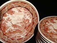 9 Beautiful ornate decorated glazed dinner plates & 8 cream porcelain pasta bowls £30 for the set