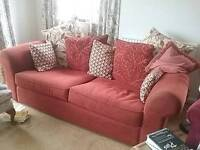 Red moquette 2/3 seater settee