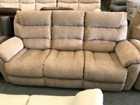 High retail reclining beige fabric suite