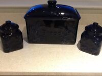 Bread bin with matching tea and coffee canisters