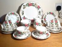 Rare 21-piece vintage 1950's Wedgwood 'Starflower' Xmas bone china tea set