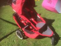 Phil and teds Sport double pram - Includes single & double raincover and safety strap