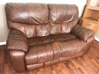 2 x Brown Leather Two Seater Sofas