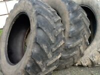 TRACTOR TYRES 600/65/38 GOODYEAR RADIALS WITH 35% TREAD £200 FOR BOTH TYRES
