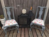 Pair of up-cycled vintage Queen Anne chairs
