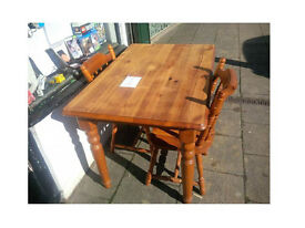BEAUTIFUL COMPACT SOLID WOOD CHUNKY TABLE AND TWO CHAIRS GOOD SOLID DESIGN SIZE BELOW
