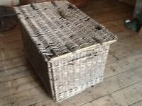 Wicker vintage laundry basket.